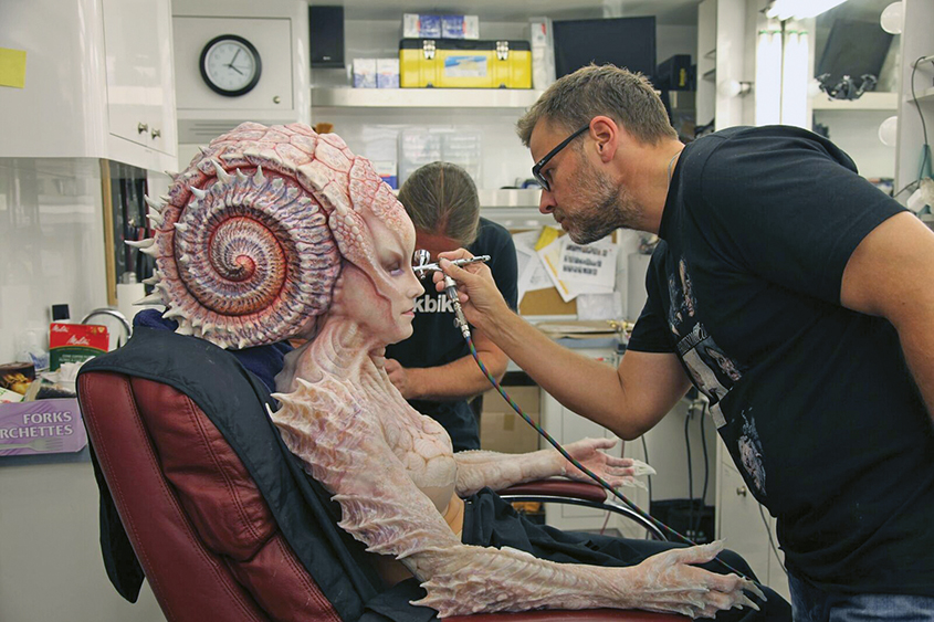 Joel Harlow creates the make-up and prosthetics for alien Natalia